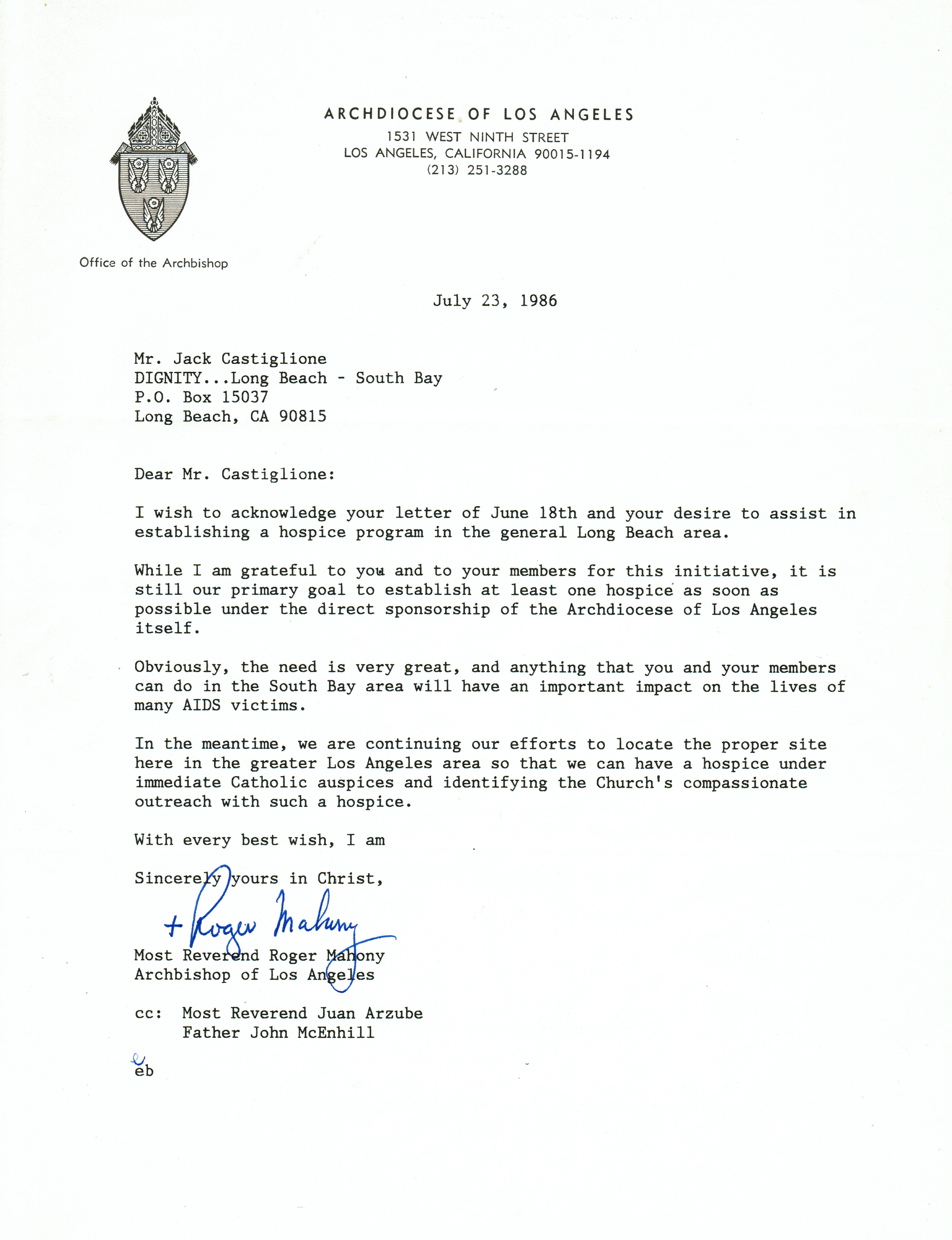 Correspondence with the Archbishop of Los Angeles - Jack